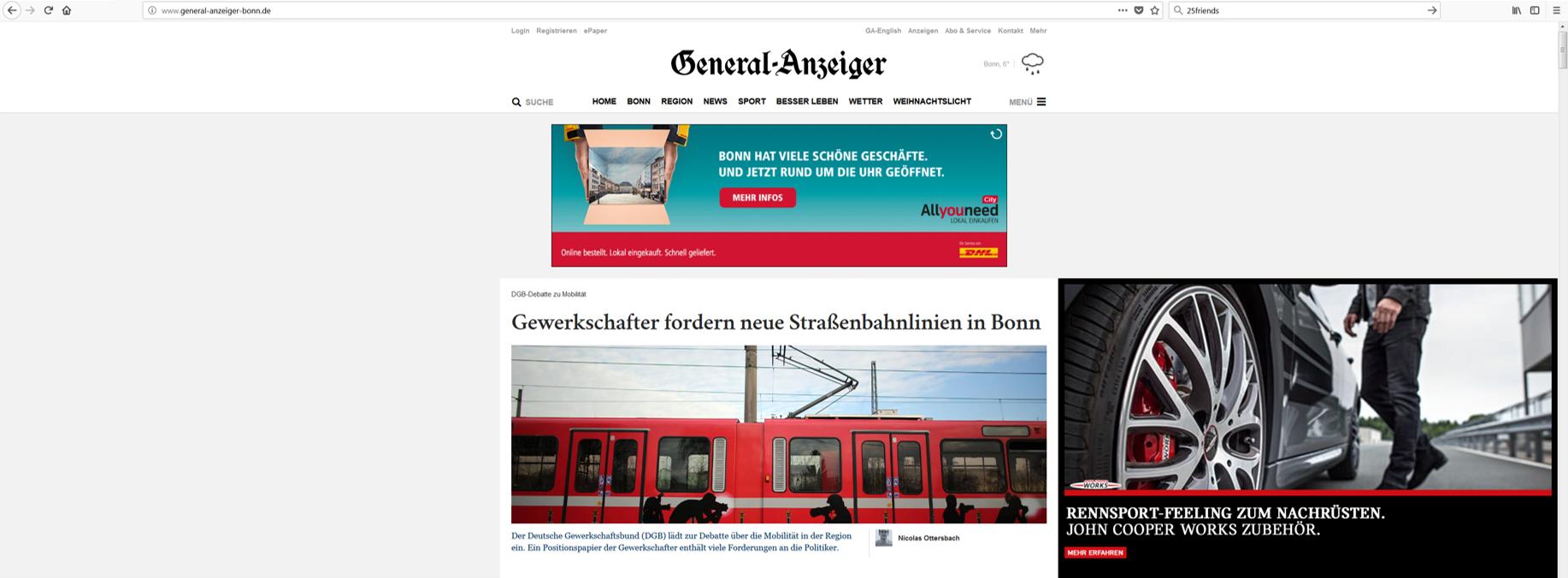 Abbildung 1: General-Anzeiger Bonn mit Werbeanzeige
